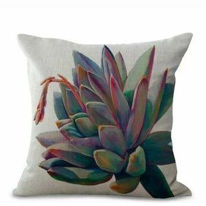 "Pillow case 18"" Cotton Linen Cushions Cover Cactus"